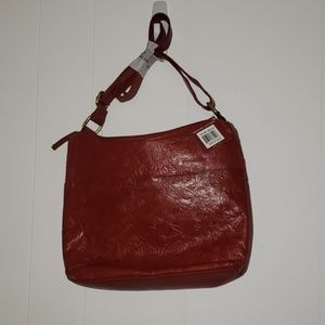 Brand new red embossed leather purse